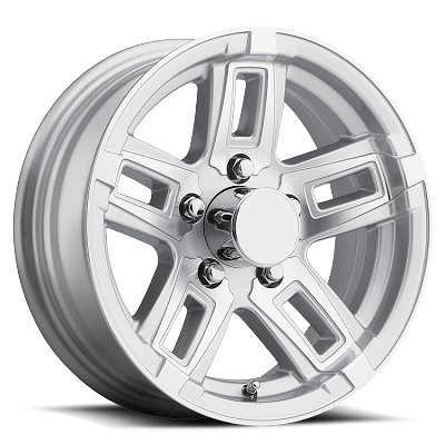 14x5.5 T06 Silver Machined Aluminum Trailer Wheel 5x4.5 T06-45545SM