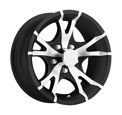 14 x 5.5 Viper Black Machined Aluminum Trailer Wheel 5x4.5 0 Bolt Pattern