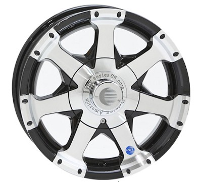 15x5 Black Series 6 Aluminum Trailer Wheel 5 on 4.50, 1820 lb Capacity