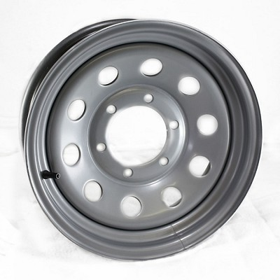 15x6 Steel Silver Painted Modular Trailer Wheel 6x5.50 Bolt Pattern - NO RIVETS Max Load 2,830 lb