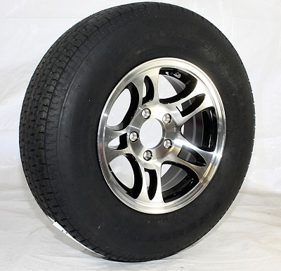 ST205/75R14 LR C RADIAL ST FREESTAR Trailer Tire mounted on 14 x 5.5 Machined/Black Inlay Bullet Aluminum Trailer Rim 5x4.50