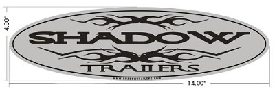 Shadow Trailers Chrome and Black Vehicle or Trailer Logo Decal/Sticker