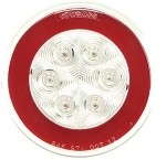 GloLight Clear Lens Trailer Red LED Stop, Turn, Tail Light, Submersible, 4 in Round #STL101RCB
