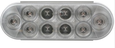 6 in Oval Trailer LED Light,Clear lens red stop/turn/tail light, PL-3 connection #STL82RCB