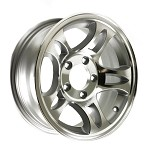 14 x 5.5 Machined Aluminum Bullet Trailer Wheel 5x4.50, 1900 lb Capacity