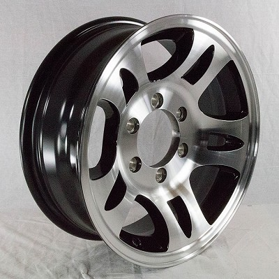 16x6 Aluminum Bullet T03 Trailer Rim with Black Inlay 6x5.50 Lug, 3200 lb Load Capacity