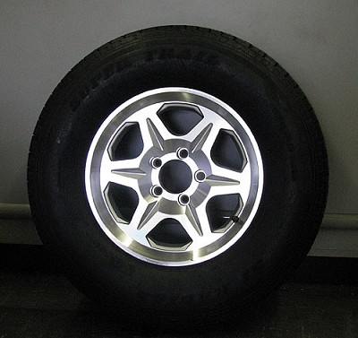 ST22575R15 Radial Trailer Tire with 15 inch T04 Aluminum Trailer Wheel 5 Bolt