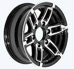 14 x 5.5 Linkster Black Machined Aluminum Trailer Wheel 5x4.50 Bolt Pattern