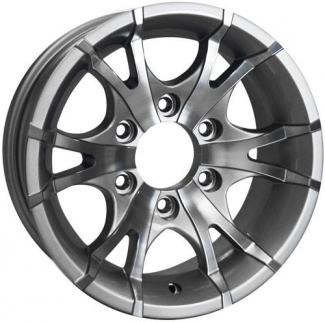 15x6 Viper Silver Machined Aluminum T07 Trailer Wheel 6 Lug, 2830 lb Max Load