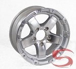 14 x 5.5 Polished Silver Sendel T08, Grinder Trailer Rim 5 on 4.50 Lug, 1900 lb Capacity