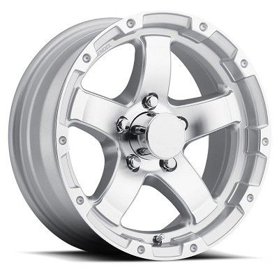 15 x 6 Polished Silver Grinder T08 Sendel Trailer Wheel, 5 on 4.50, 2150 lb Max Capacity