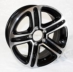 14 x 5.5 Sendel T09 Aluminum Trailer Rim Black Machined, 5x4.50 Lug Pattern 2,200 lb Capacity