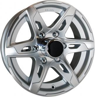 16x6 Silver T10 Sendel Aluminum Trailer Wheel 6 on 5.50 Lug 3,200 lb Max Load