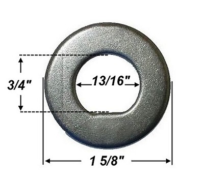 "Trailer Spindle Washer, 3/4"" ID Flat ""D"" Shape #32402, #290-0233390"