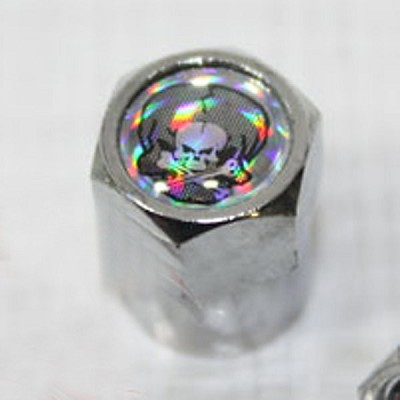 Valve Stem Cap with Skull and Halogram, Chrome Plastic