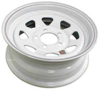 15 x 6 Trailer Wheel, White Spoke 5 on 5 Bolt Pattern Load Cap. 2,600 lb.