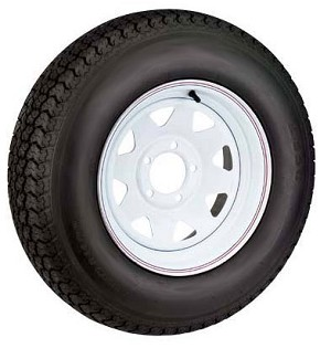 12 x 4 White Steel Spoke 4 Lug Trailer Wheel w/ 5.30-12 LRC Trailer Tire Assembly