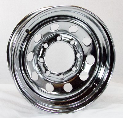 16 x 6 Chrome Modular Steel Trailer Wheel 8x6.50 Lug, 3760 lb Max Load