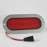 Red 6 inch Oval Stop Turn Tail LED Light with Polished Stainless Ring and Harness