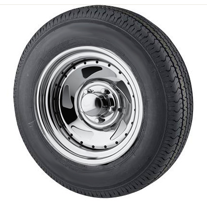 15 Inch Tires >> St205 75r15 Radial Trailer Tire Lr C W 15x6 5x4 5 Chrome Blade Trailer Rim With Rivits By U S Wheel