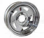 15 x 5 Chrome Blade Steel Trailer Wheel NO RIVETS 5 on 4.50 Lug, Max Load 1,870 lb