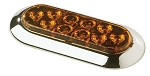 Amber 6 in Oval LED Sidemarker/Clearance Trailer Light Surface Mount Includes Chrome Trim Ring