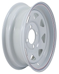 12 x 4 White Steel Spoke Trailer Wheel 4 on 4 Lug, 1,045 lb Load Capacity