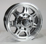 16 x 6 HD SAWTOOTH 870 Aluminum Trailer Wheel 8 Lug with Center Cap