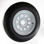 ST205/75R15 Carlisle Radial Trailer Tire LRC mounted on 15x6 White Modular 5 Lug Trailer Wheel