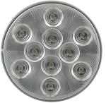 Sealed, 4 inch Round White LED Trailer Utility Light, Flush Mount, 10 Super Diode - Clear Lens #BUL43CB