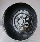 ST205/75R14 Carlisle Radial Trailer Tire LR C mounted on 14x6 Chrome Modular w/rivets Trailer Wheel 5 Lug - U.S Wheel