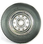 ST205/75R14 Radial Trailer Tire on 14 inch Chrome Modular with Rivets 5 Lug Trailer Rim