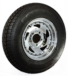 13 inch Chrome Blade Trailer Wheel 5 x 4.5 and Bias Ply Tire Assembly 17580D13