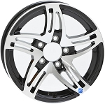 15x5 Black HWT Hi Spec Series 09 Trailer Wheel 5 on 4.5 Lug, 2,150 lb Max Load