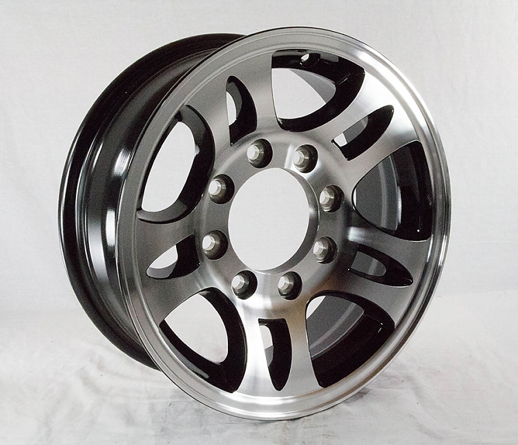 16 x 6 Aluminum Bullet T03 Trailer Wheel with Black Inlay 8 Lug, 3,580 lb  Capacity