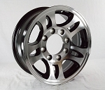 16 x 6 Aluminum Bullet T03 Trailer Wheel with Black Inlay 8 Lug, 3,580 lb Capacity