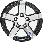12x4 Series 07 Aluminum Trailer Wheel Gloss Black Inlay 5x4.5 Lug 0724545B