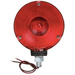 Signal-Stat, Incandescent, Red Round, 1 Bulb, Single Face, 2 wire,Pedestal Light, 1 Stud, Black, Stripped End