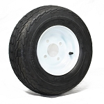 16.5x6.50-8 LRC Tow-Master Trailer Tire with 8x5.375 Solid White Trailer Wheel 4 on 4 Lug