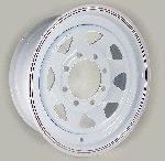 16x6 White Steel Spoke Trailer Wheel 8x6.5, 4080 Lb Load Capacity