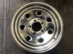 CLEARANCE, DENTED, SCRATCHED - 14 x 6 Soft Seven Chrome Clear Coated Steel Trailer Wheel 5 on 4.50