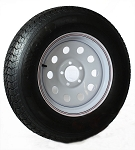 ST205/75D15 Bias Ply Import Trailer Tire & 15x5 White Mod Trailer Wheel Combo