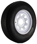 ST225/75R15 Trailer Tire Load Range E on 15 White Spoke 6 Bolt Trailer Wheel