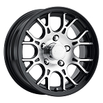15x6 T16 Black Machined Aluminum Trailer Wheel 5x4.5 Bolt Circle