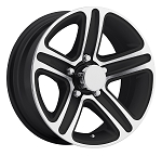 14 x 5.5 Sendel T09 Gloss Black Machined Aluminum Trailer Wheel 5x4.50 Lug Pattern 2,200 lb Capacity