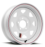 13x4.5 Steel Spoke Trailer Wheel White Painted w/ Pinstripe 5x4.50 Lug, 1,660 lb Load Capacity
