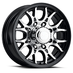 16x6.5 Sendel T16 Black Machined Trailer Wheel 8x6.5