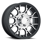 15x6 T16 Matte Black Machined Aluminum Trailer Wheel 5x5