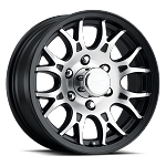 15x6 T16 Matte Black Machined Aluminum Trailer Wheel 6x5.5