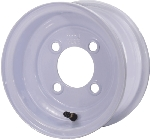 8x3.75 White Steel Trailer Wheel 4 on 4 Lug, 1075 lb Load Capacity